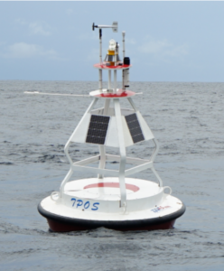 Three buoys (0, 147°E), (0, 156°E), and (12°N, 156°E) in Ding array. A subsurface mooring with ADCP was deployed at (0, 156°E), and (12°N, 156°E), respectively.